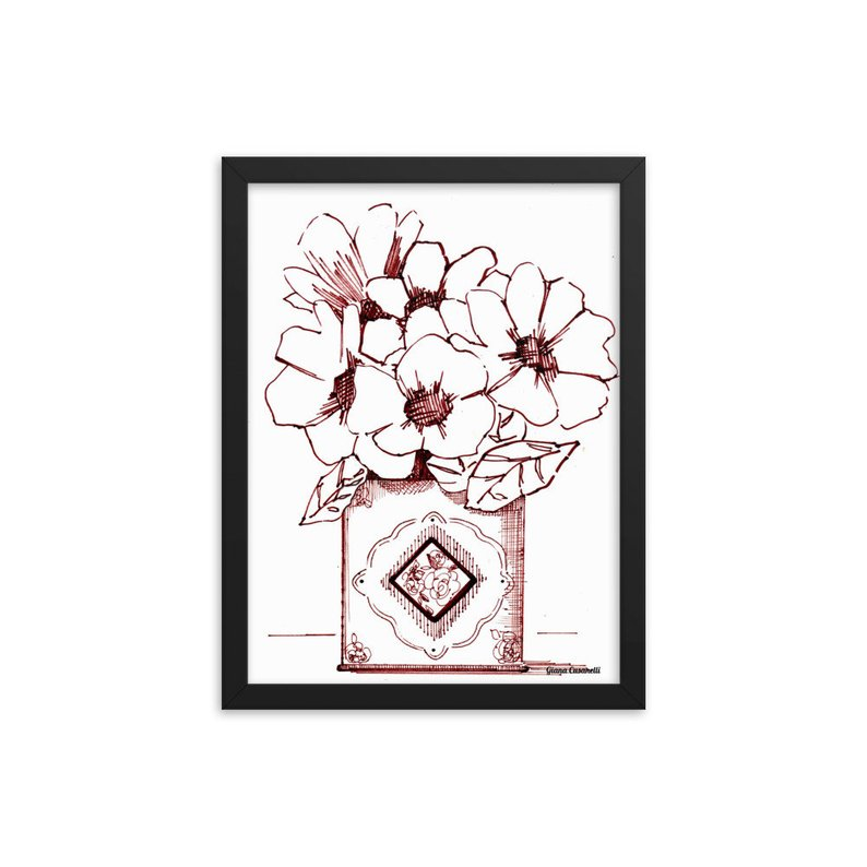 794x794 Framed Drawing Print Flowers In Tea Tin Sepia Ink Drawing Etsy