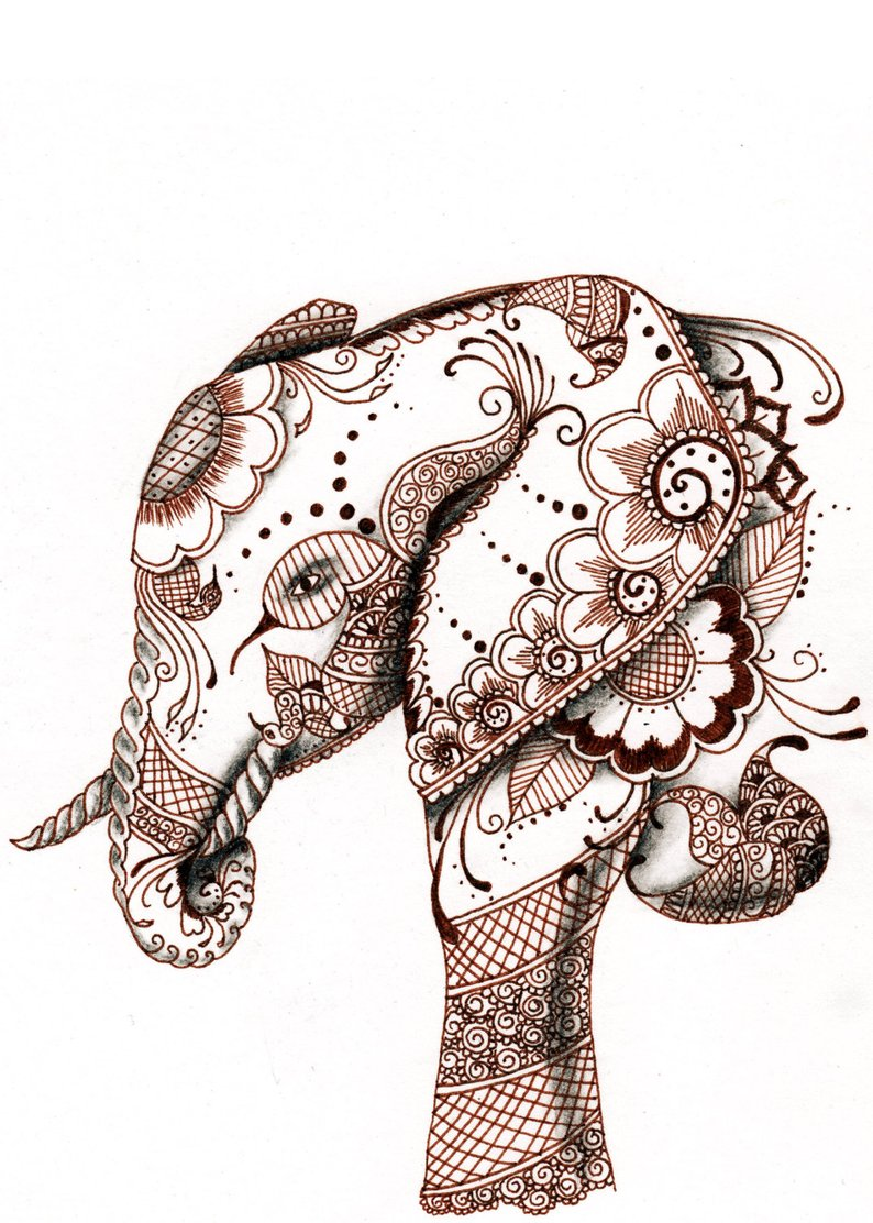 794x1112 Elephant Original Ink And Charcoal Drawing Etsy