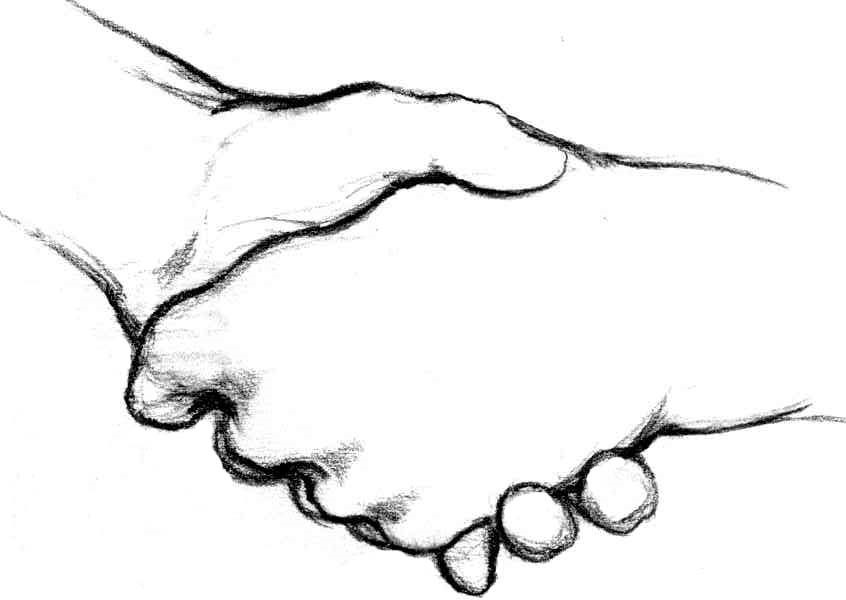 Shaking Hands Drawing