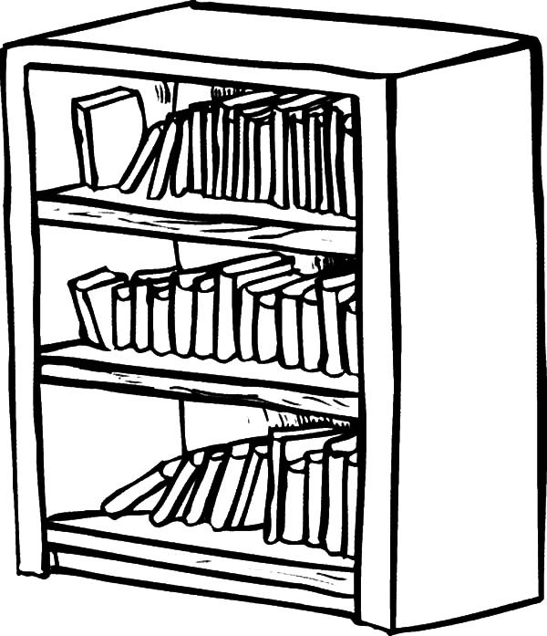 600x697 Bookshelf Drawing Coloring