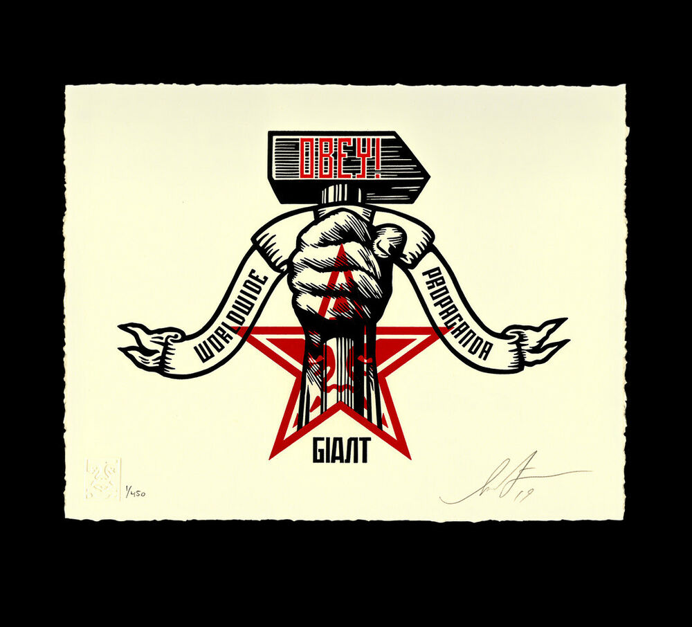 1000x906 Obey Giant Hammer And Fist Shepard Fairey Signed Numbered