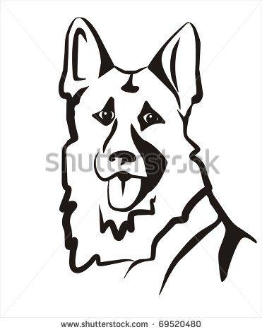 371x470 German Shepard Vector Illustration, Portrait Sketch In Black Lines