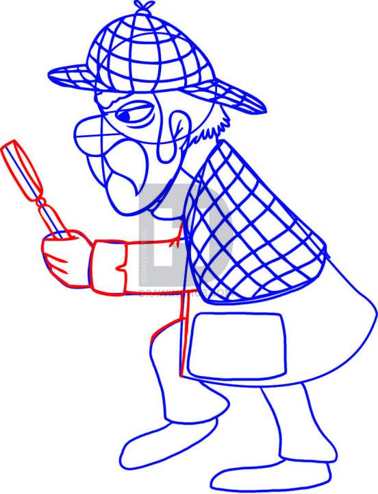 552x720 How To Draw Sherlock Holmes, Step
