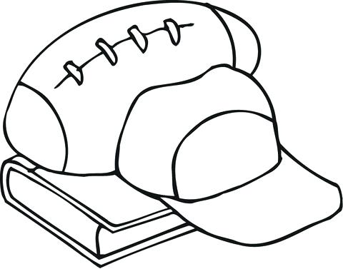 480x377 outline of football outline of football equipment and a book