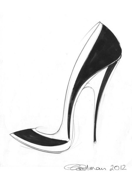 450x600 Stiletto Shoe Sketch