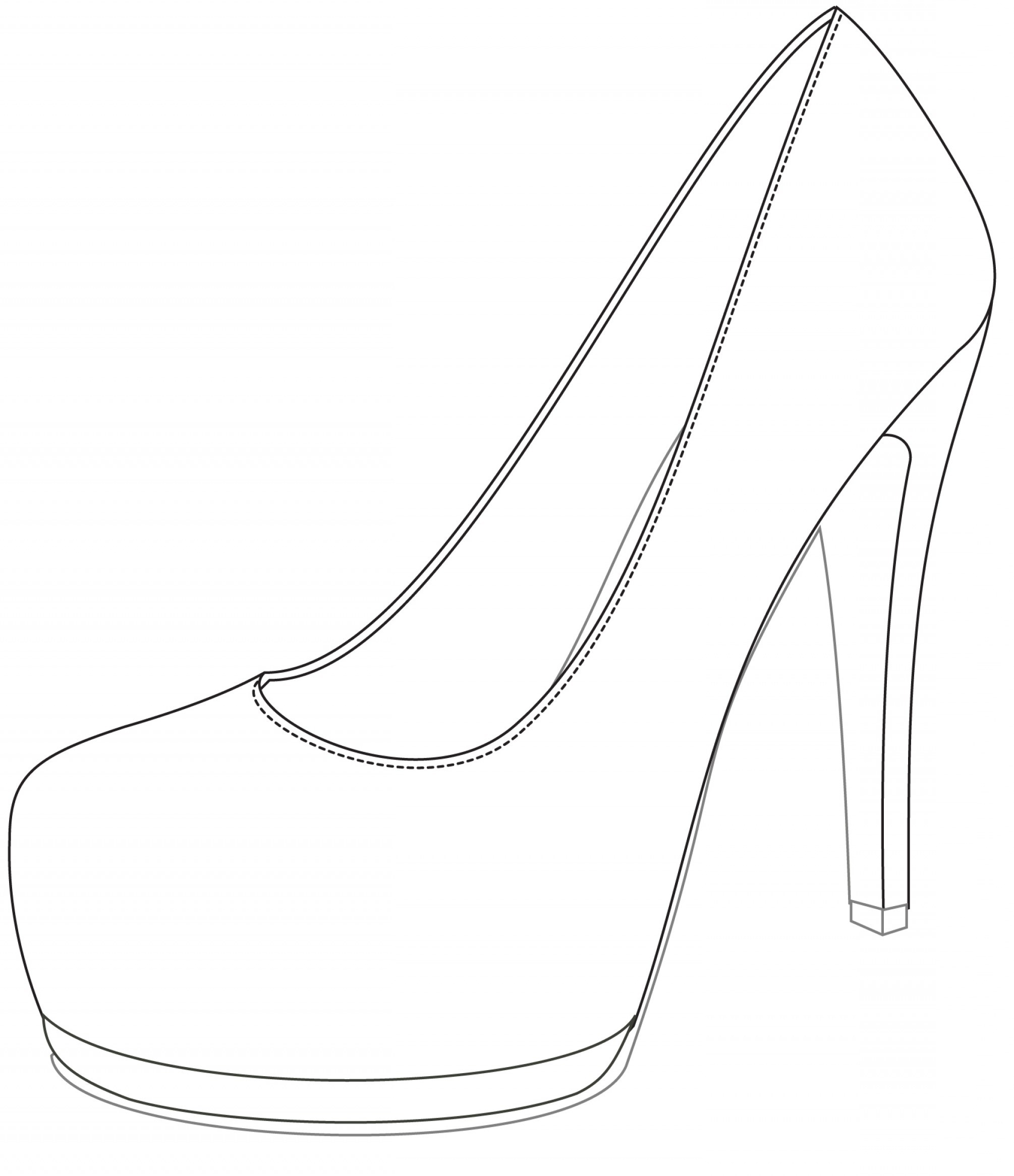 graphic regarding High Heel Shoe Template Printable known as Shoe Drawing Template Absolutely free down load least complicated Shoe Drawing