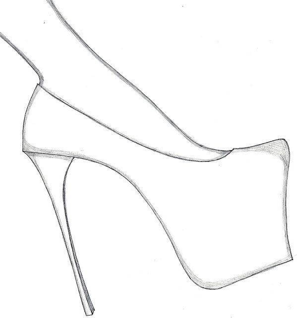 599x640 Drawing Shoes High Heeled Shoe For Free Download
