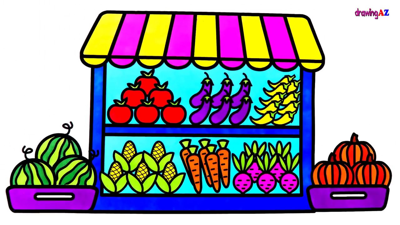 1280x720 How To Draw Fruits And Vegetables Shop For Kids Coloring
