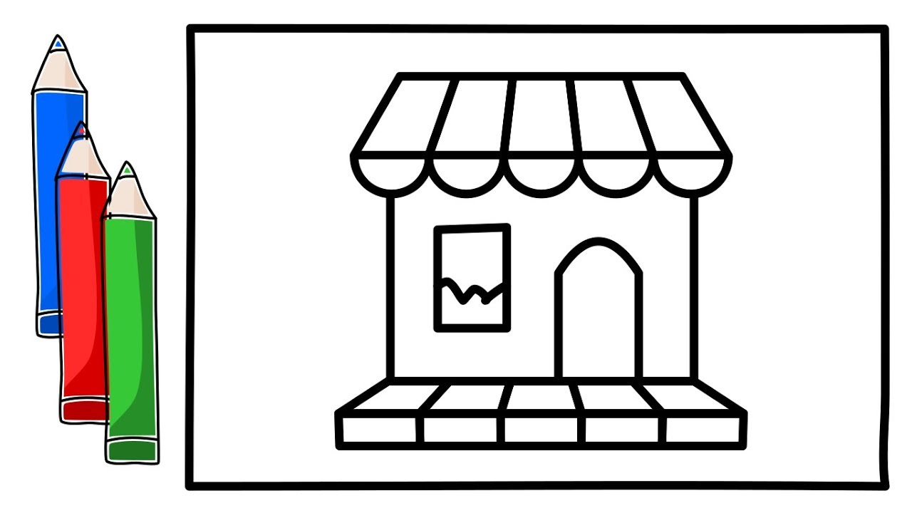1280x720 how to draw a shop for kids how to draw a shop for children