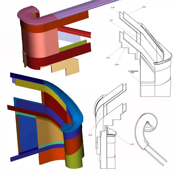 600x600 Marble Staircase Volute Shop Drawings