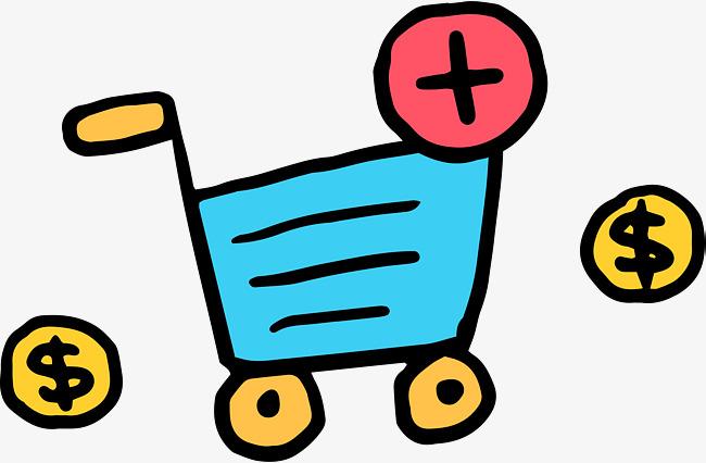650x426 blue cartoon shopping cart, cartoon hand drawing, shopping cart