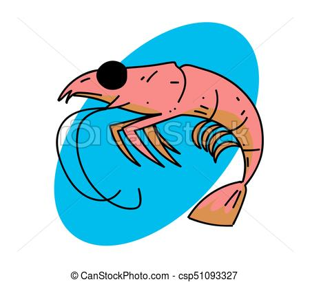 450x410 Shrimp Cartoon Hand Drawn Image Original Colorful Artwork, Comic
