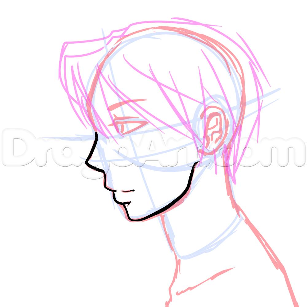 1000x1000 Anime Boy Drawing Side View Anime Collection