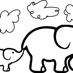 250x250 Elephant Drawing For Kids Head Side View Cartoon Black And White