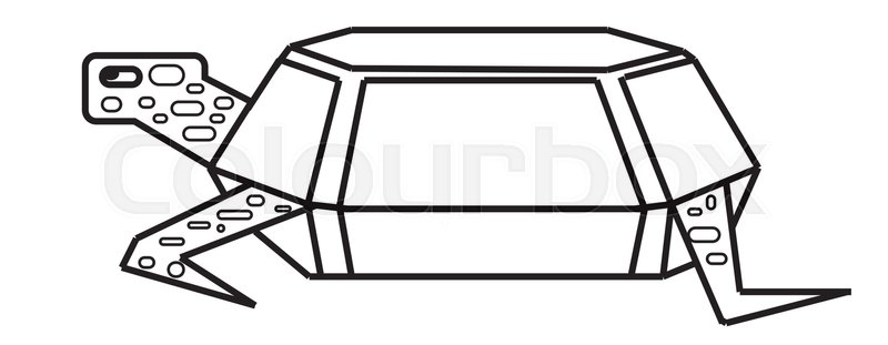800x311 Print Turtle Vector Drawing Side View Stock Vector Colourbox