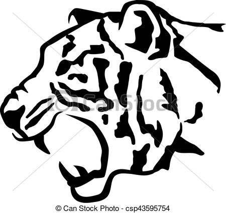 450x425 Tiger Head Sideview Clipart Vector Random Side View