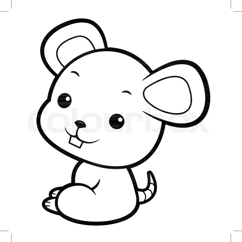 800x800 Black And White Mouse Mascot Sits Stock Vector Colourbox