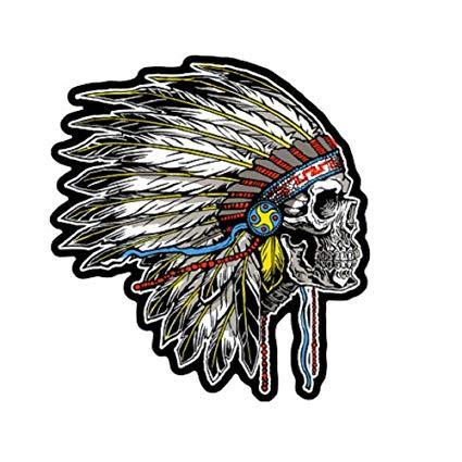 425x425 Jumbo Inch Indian Skull Sideways Headdress Biker