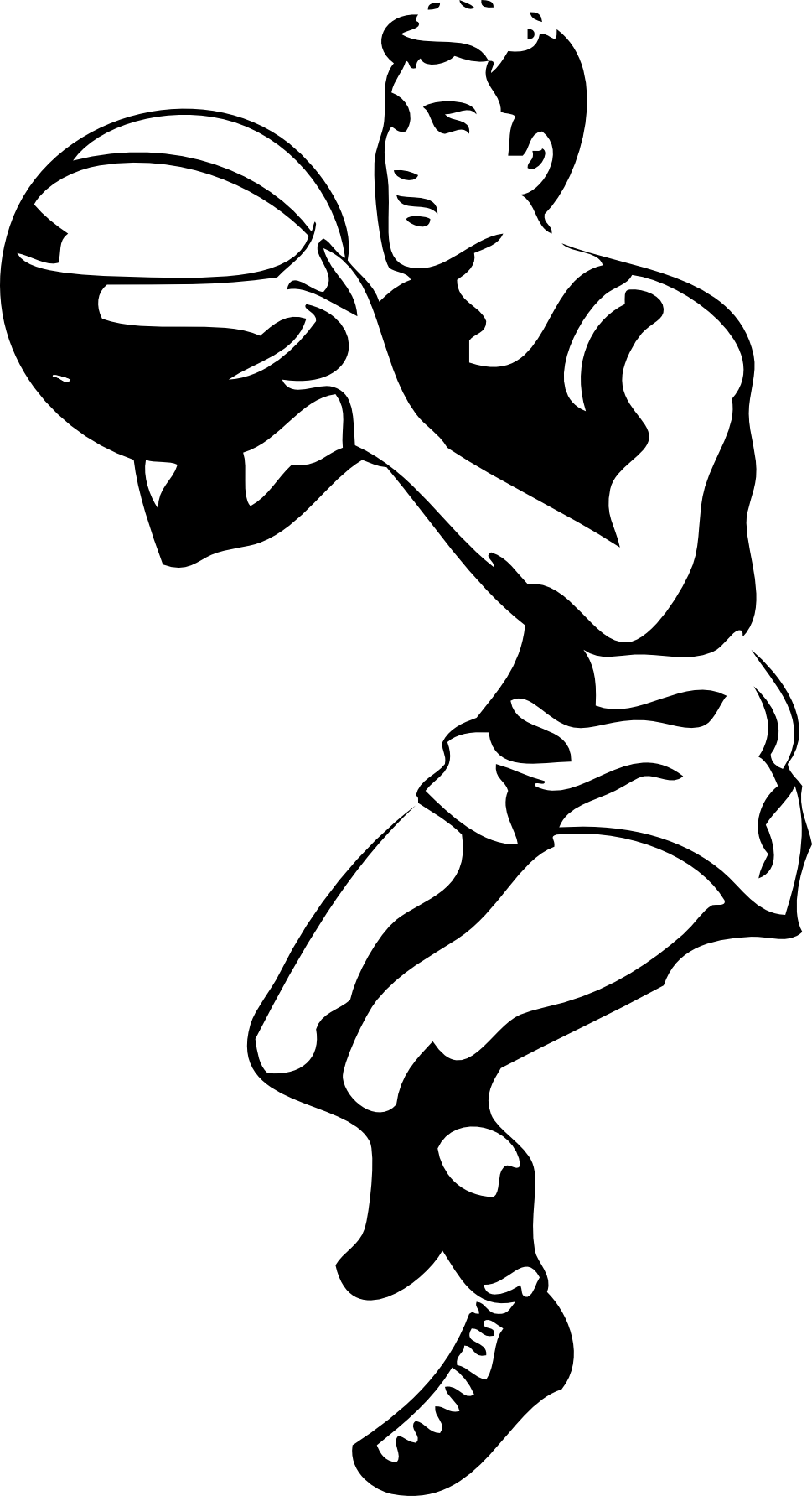 969x1784 simple black and white basketball clipart basketball player clip