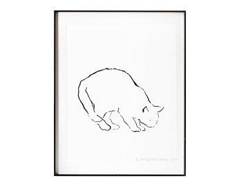 340x270 Simple Cat Sketch Etsy