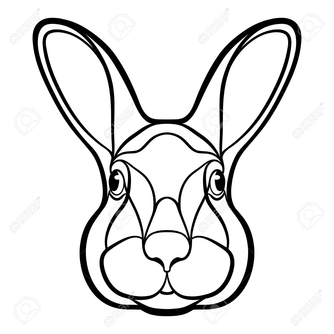1300x1300 Bunny Face Drawing Easy Easter A Simple Step