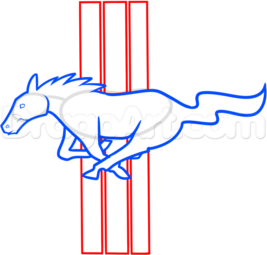 875x836 How To Draw The Mustang Logo, Step