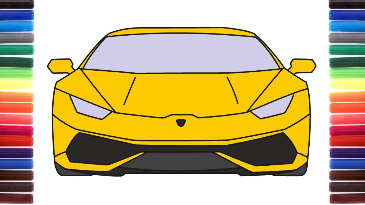 1280x720 How To Draw A Car Lamborghini Huracan Front View Step