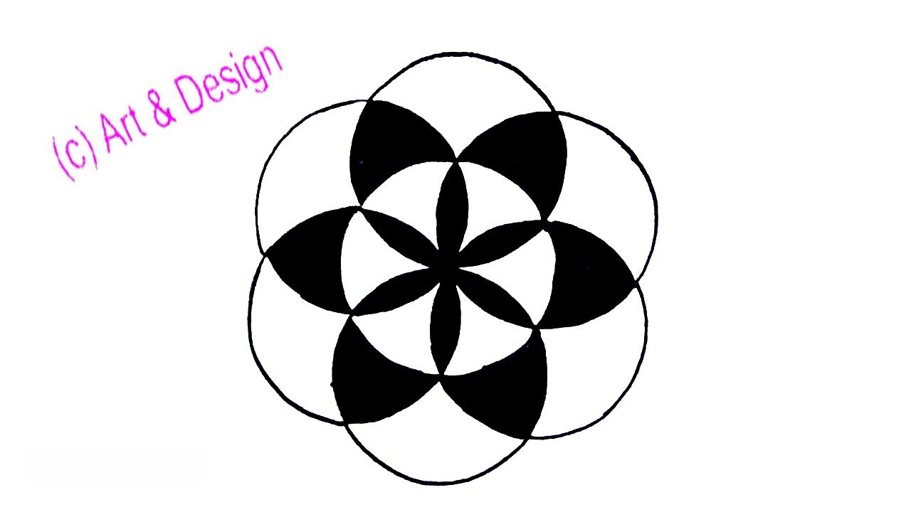 1280x720 How To Draw A Simple Design With Circle Step
