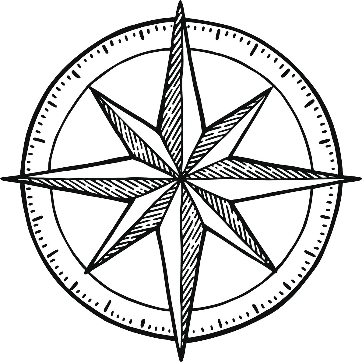 1189x1190 Simple Dainty Hipster Compass Sketch Vinyl Decal