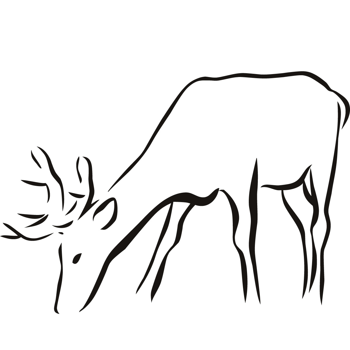 1200x1200 Deer Drawing Drinking For Free Download