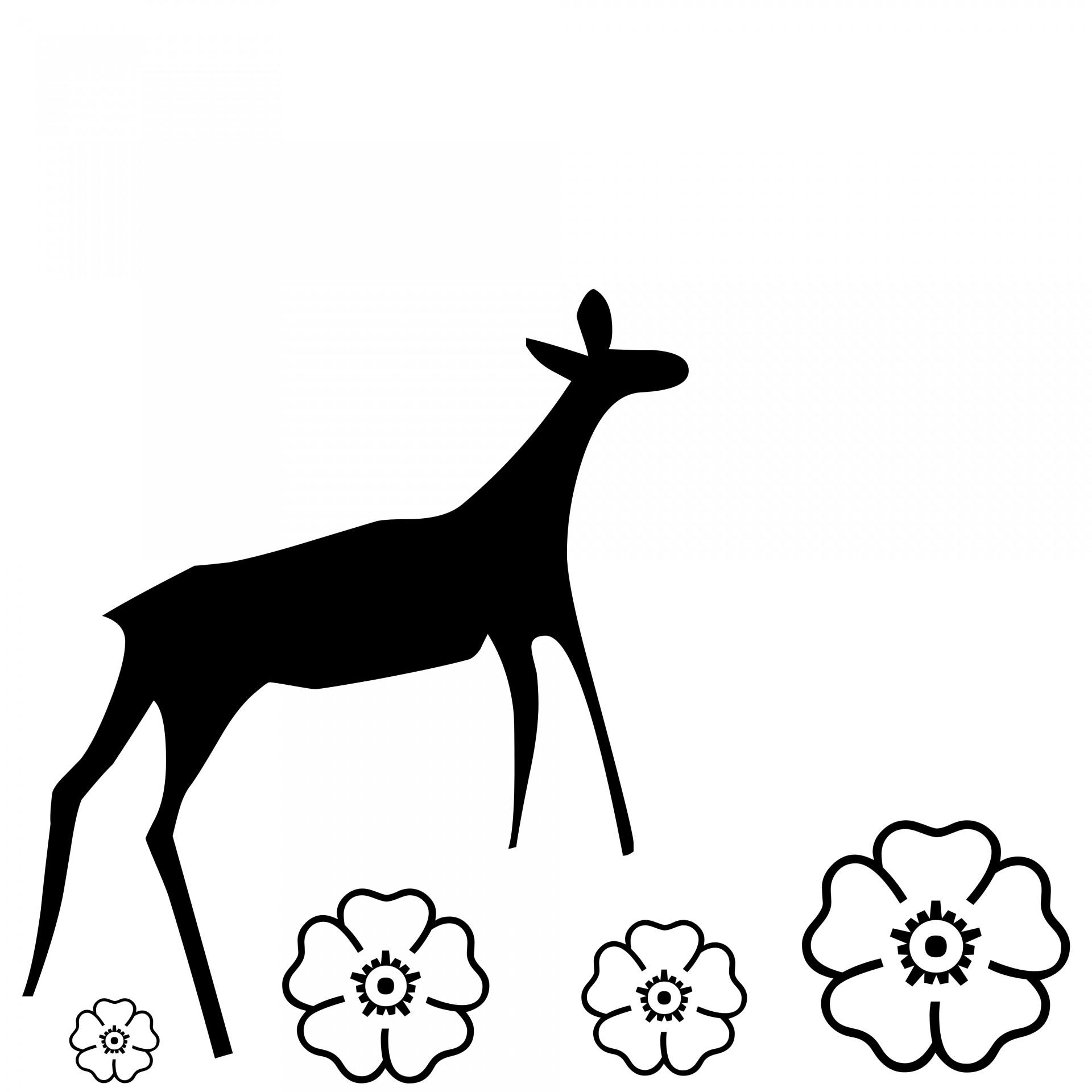 1920x1920 Doe, Deer, Silhouette, Flowers, Black