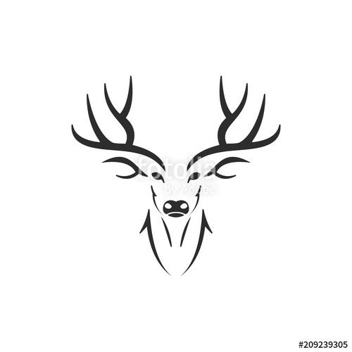 500x500 Simple Silhouette Of Stag Deer Antlers Head Stock Image