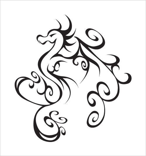 Simple Dragon Line Drawing