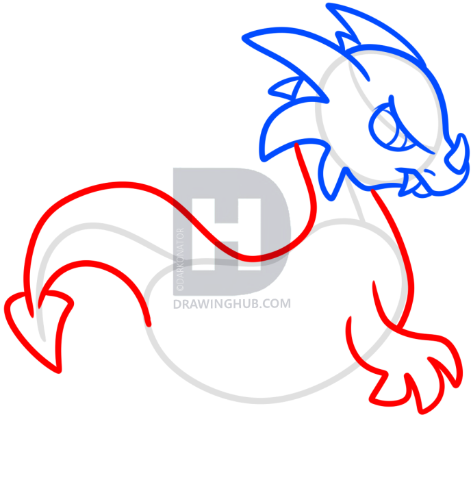 688x720 How To Draw A Simple Dragon, Step