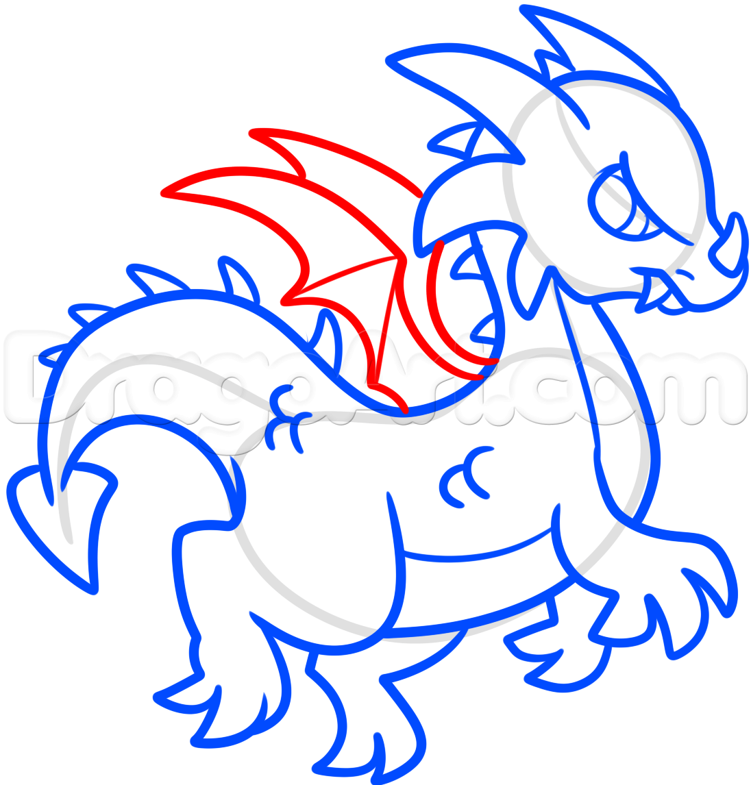 1096x1146 How To Draw A Simple Dragon, Step