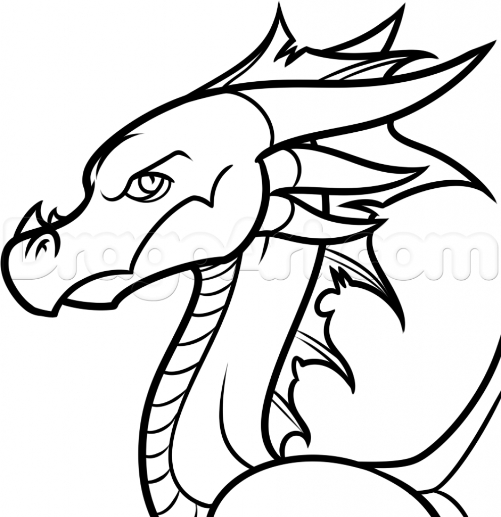 992x1024 Simple Dragon Outline Drawings Black And White Free Download Best