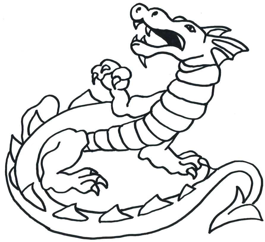 892x813 Dragon Easy Simple Dragon Outline Dragon Drawings Easy Full Body