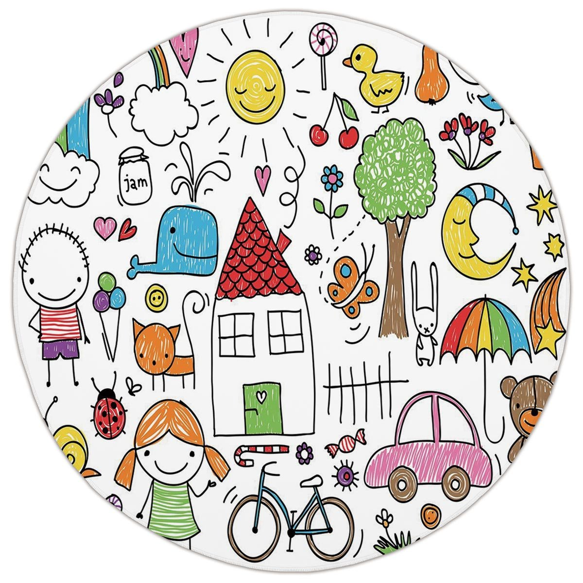 1200x1200 round area rug mat rug,doodle,simple childlike drawing