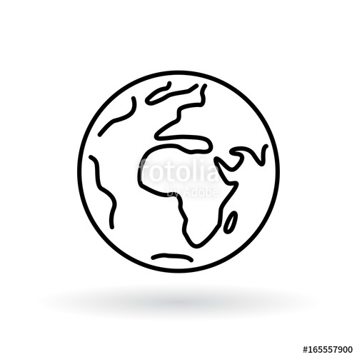 500x500 Simple Planet Icon Earth Sign World Symbol Stock Image