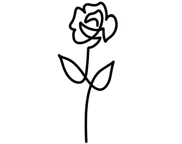 600x475 Simple Rose Drawing Vector Line Drawing With Simple Rose Black