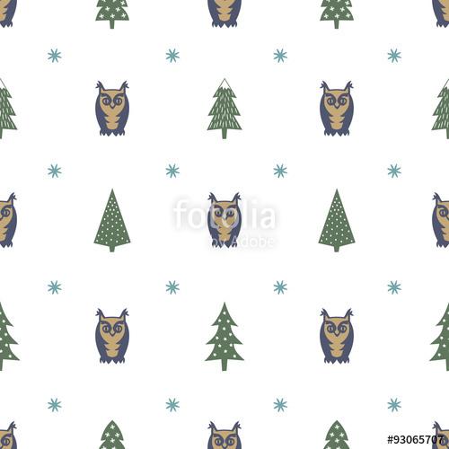 500x500 Winter Forest Pattern