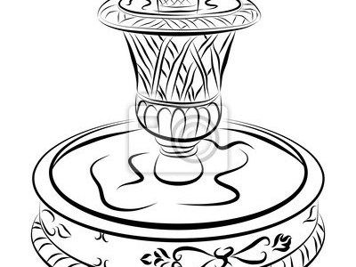 400x300 simple water fountain drawing, water fountain drawing