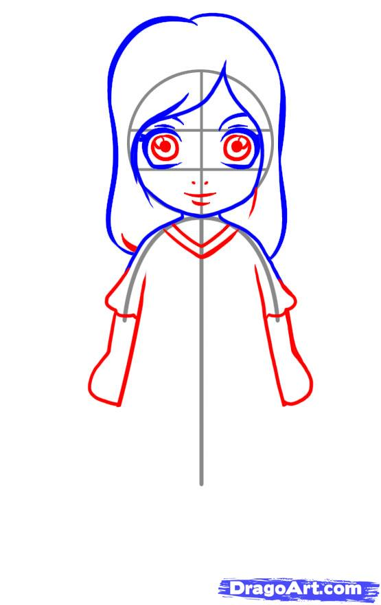 555x880 How To Draw A Simple Girl, Step