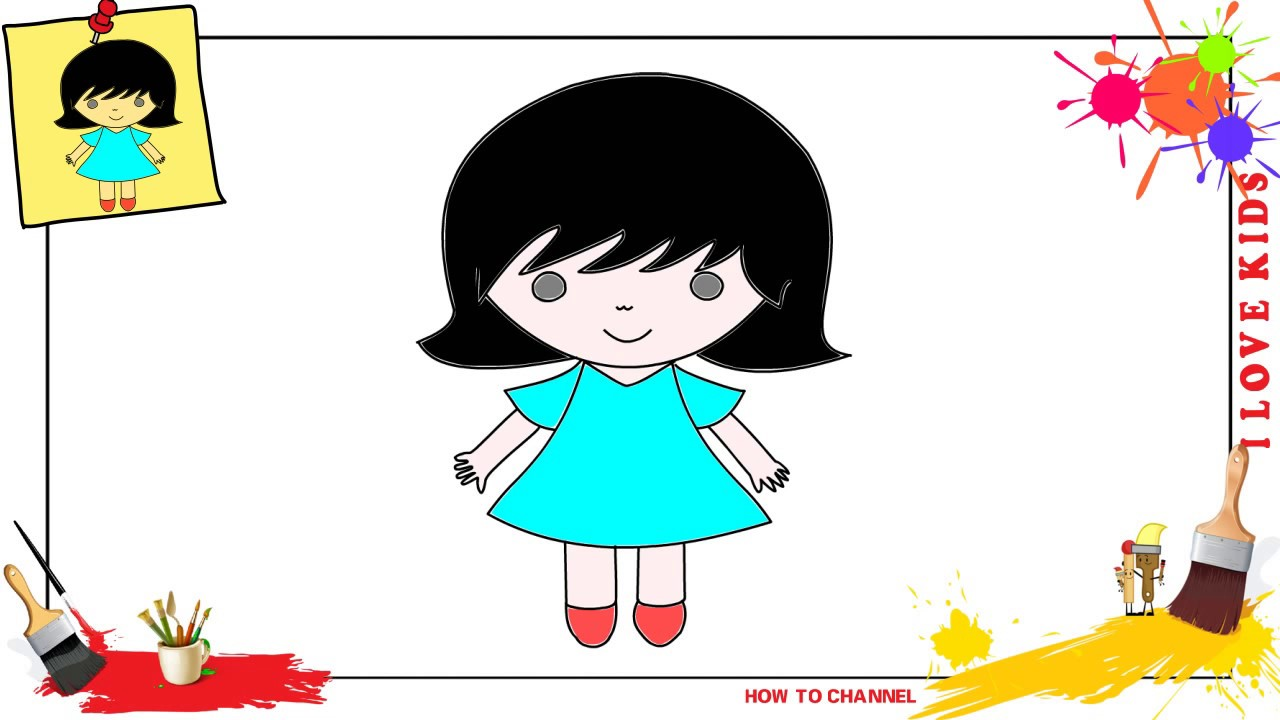 1280x720 How To Draw A Girl Simple, Easy Slowly Step
