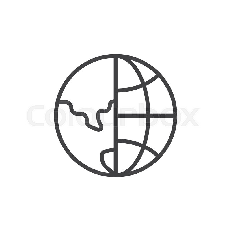 800x800 Earth Globe Grid Outline Icon Linear Stock Vector Colourbox
