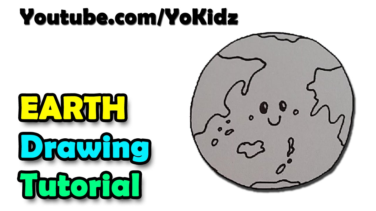 1280x720 How To Draw A Cartoon Earth For Kids Easy And Simple