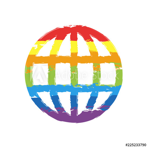 500x500 Simple Globe Icon Linear Drawing Sign With Lgbt Style, Seven