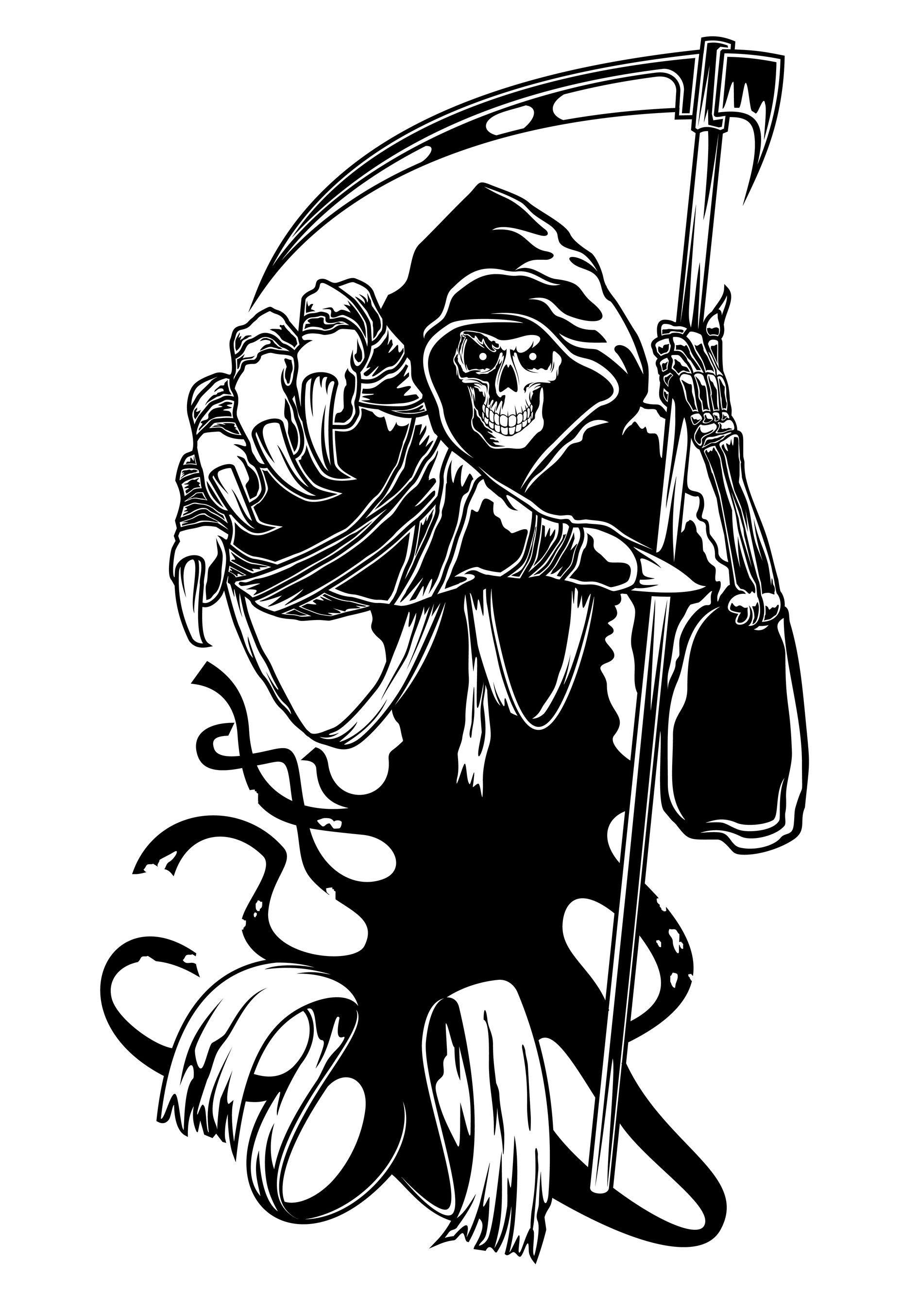 1855x2694 Tribal Grim Reaper Gun Tattoos Ideas And Designs