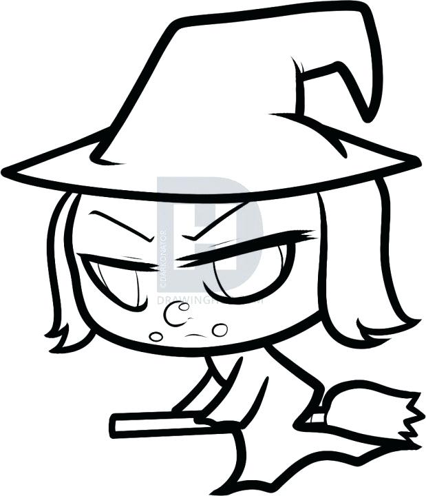 619x720 easy witch drawing drawn witch simple easy drawing witch face
