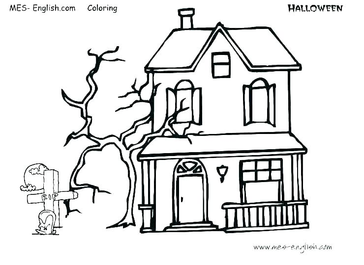 740x540 haunted house coloring how to drawing haunted house coloring